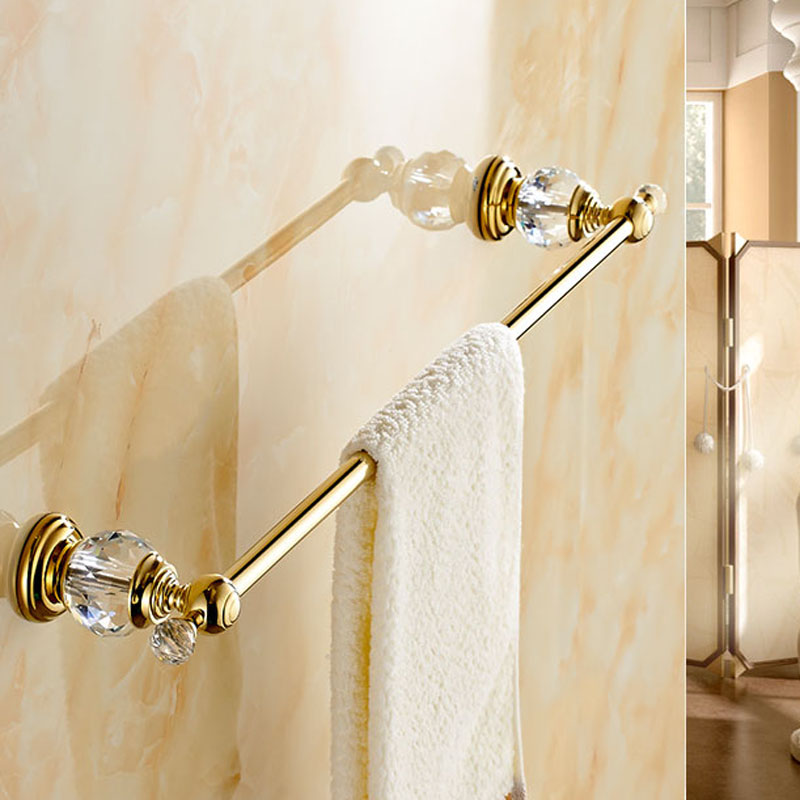 Wholesale And Retail Modern Crystal Wall Mounted Bathroom Towel Rack Holder Single Bar Towel Rack Holder Golden Finish