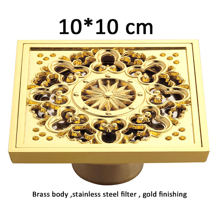 Luxury Bathroom Floor washer  Drain Cover Engraving Floor Drains stoppers drainer strainer   gold finish 4 inch