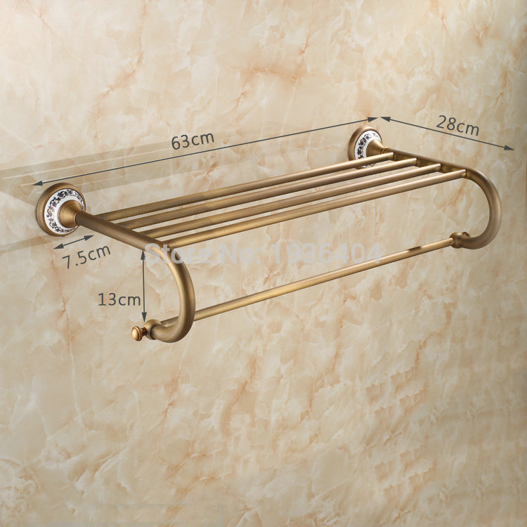 Wholesale and Retail Antique Brass with Porcelain Bathroom Towel Racks Double Towel Rack Wall Mounted Towel Shelf TR1001