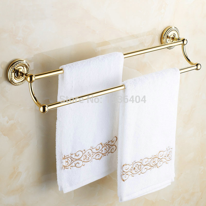 Double Gold Towel Bar Romantic Antique Brass Bathroom Towel Racks Wall Mounted Towel Shelf TR1005