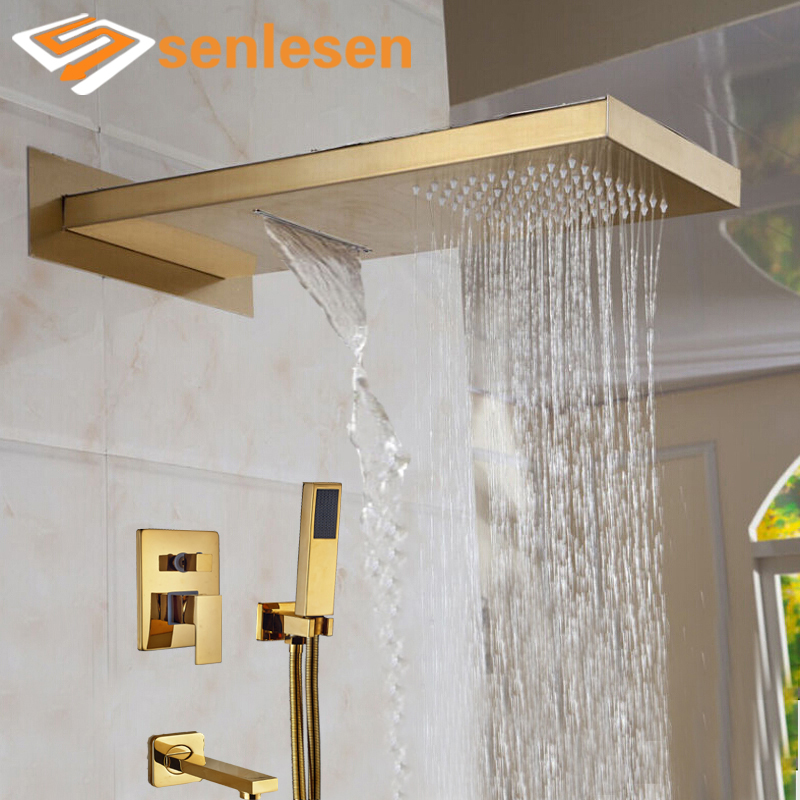 Wholesale And Retail Luxury Golden Shower Head 3 Ways Valve Mixer Rainfall & Waterfall Shower Faucet Tub Spout W/ Hand Shower