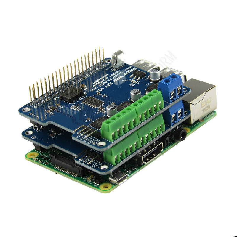Raspberry Pi 3 Motor HAT Full function Robot Expansion Board Support Raspberry Pi 3/2B/B+ (Stepper / Motor / Servo/ IR Remote)