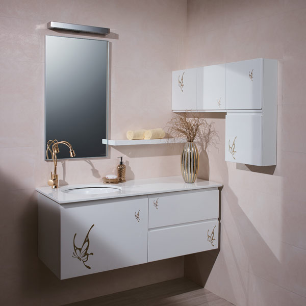 Big Storage Golden Butterfly Nature Bathroom Cabinets OP-P1178A