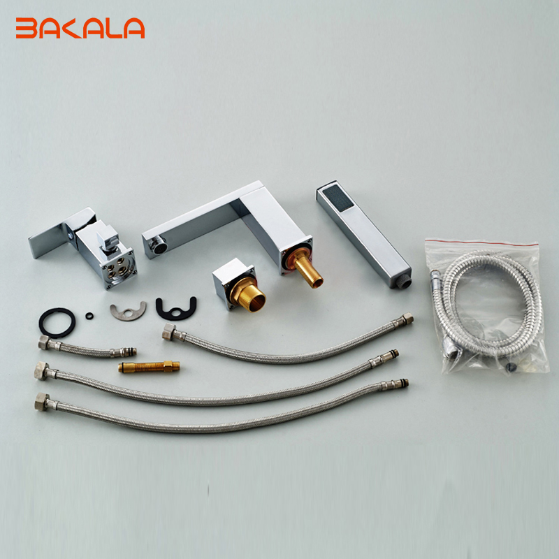 BAKALA Deck-Mounted Bath Faucets Single Holder Dual Control Luxury Brass bathtub faucet LT-2140