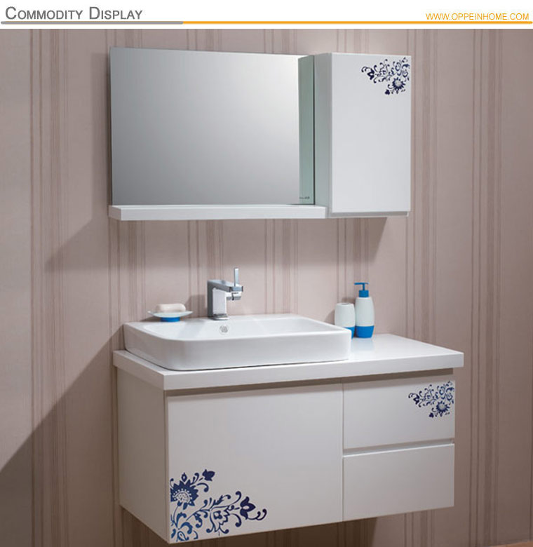Carving Flowers White Bathroom Vanity For Modern Furnish