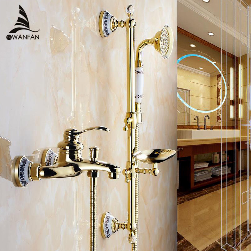 Shower Faucets Wall Mounted Bath Shower Sets Bathroom Golden Brass Bath Shower Faucet with Slide Bar Handheld Soap Dish 9107G