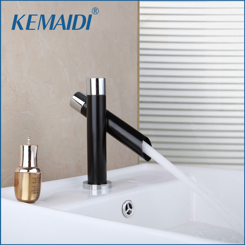 KEMAIDI Bathroom Basin Sink New Waterfall Chrome Single Handle Deck Mounted Vessel Vanity Hot and Cold Water Mixer Tap Faucet