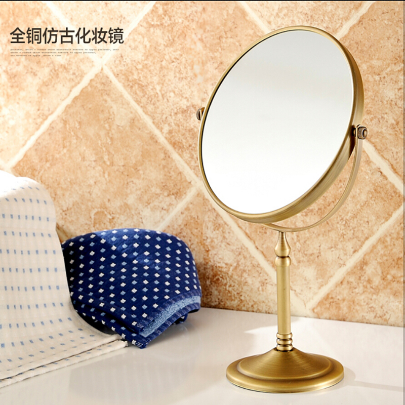 Wholesale And Retail Bathroom Deck Mounted Antique Brass Beauty Makeup Mirror Dual Sides Round Mirror Magnifying Mirror