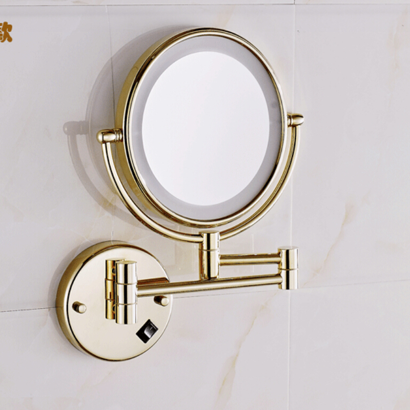 "Wholesale And Retail Golden Brass LED Mirror Beauty Makeup Mirror Dual Sides Round Mirror Magnifying Mirror 8"" Wall Mounted"