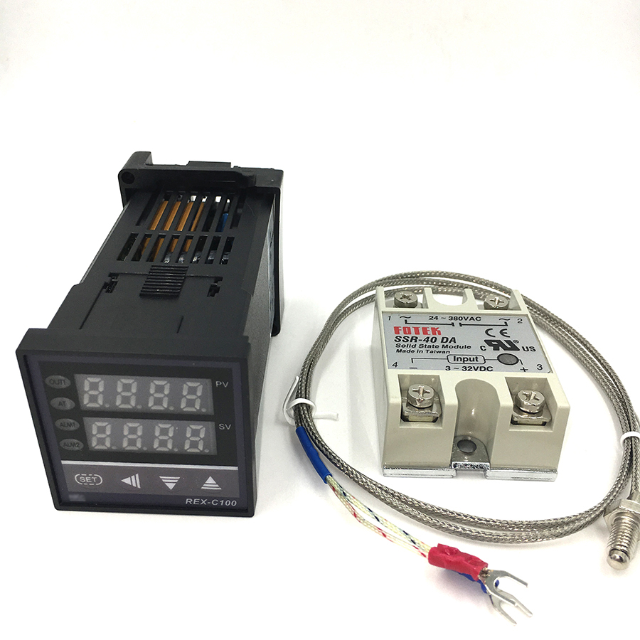 New Arrive Digital PID Temperature Controller Thermostat REX-C100 + Max.40A SSR Relay + K Thermocouple Probe High Quality