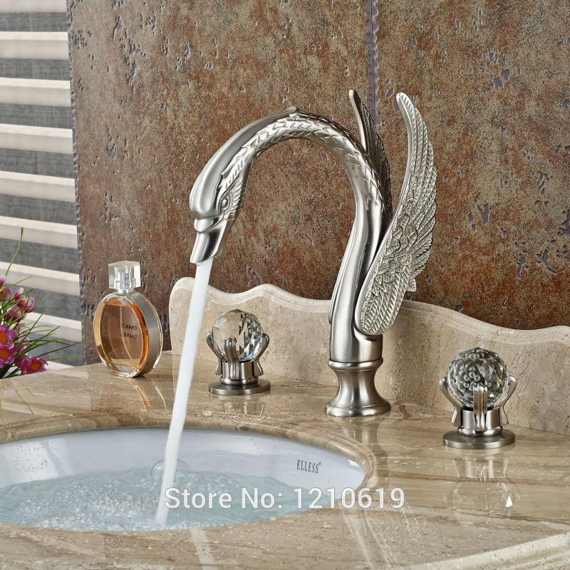 Luxury Swan Style Bathroom Sink Mixer Faucet Chrome Basin Vessel Tap Deck Mount
