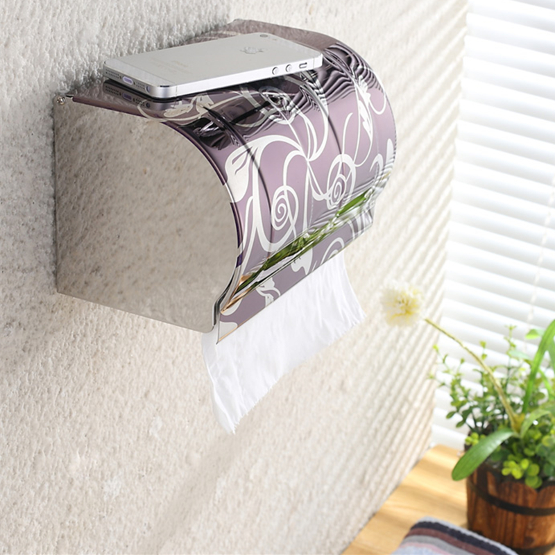 New Modern Bathroom Accessories Stainless Steel Toilet Paper Holder Paper Box Wall Mounted K8