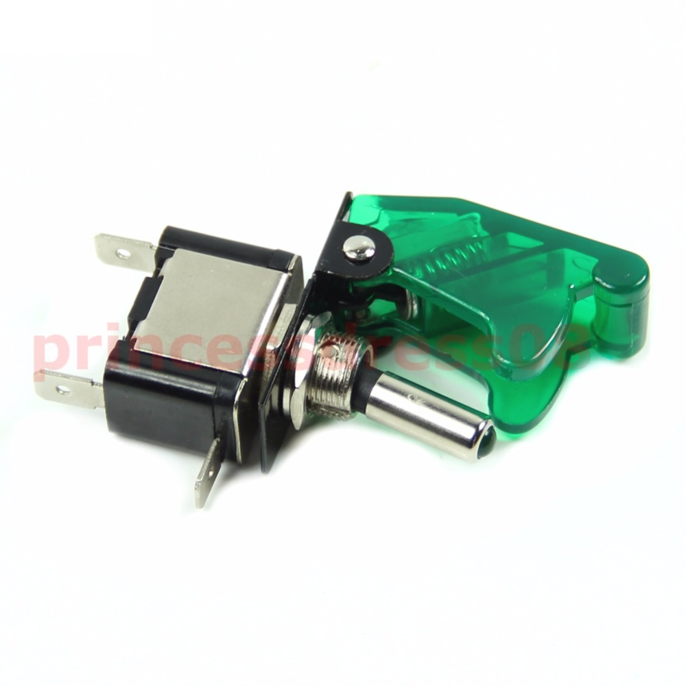 1PC 12V Car Racing On Off Aircraft Type LED Toggle Switch Control Clear Cover 4Color #S018Y# High Quality