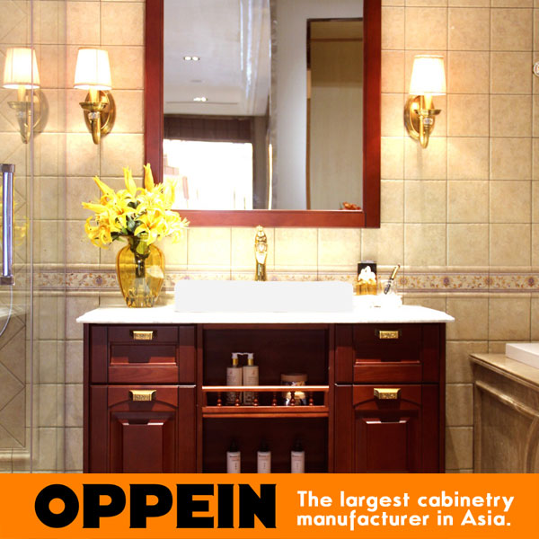 Traditonal Luxurious Design Wooden Solid Wood Bathroom Cabinet OP15-096A