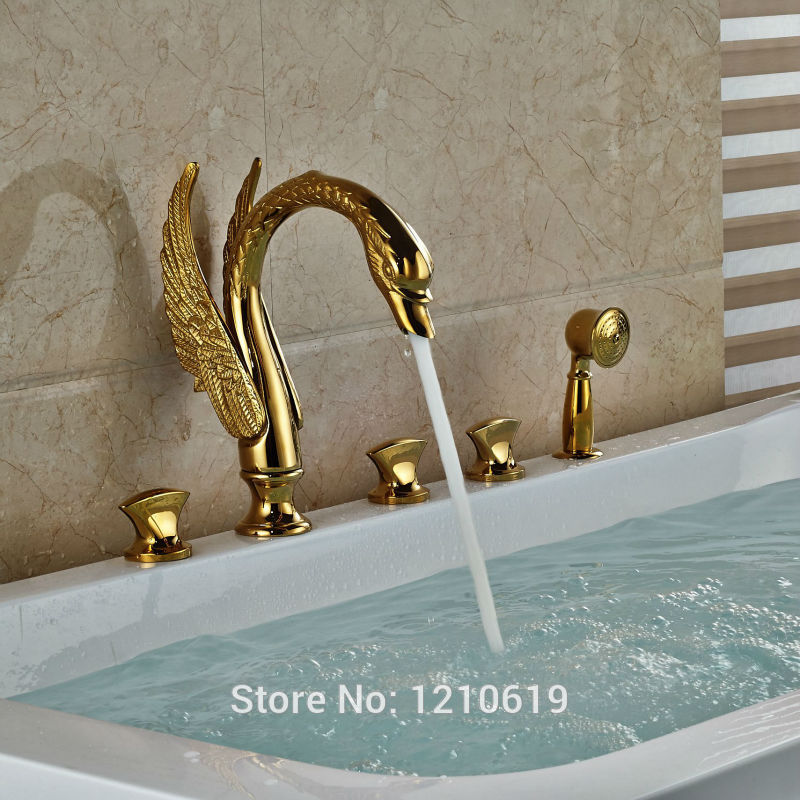 Uythner Newly Luxury Swan Bathroom Shower Faucet Set w/ Hand Sprayer Gold Plate Bathtub Mixer Faucet Tap Deck-mount