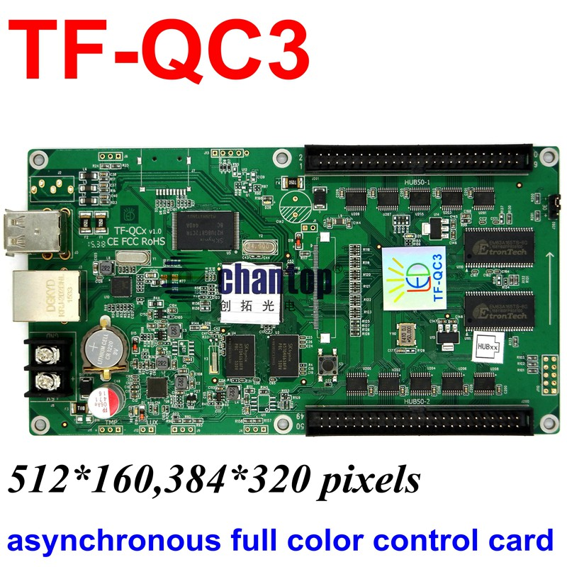 TF-QC3 USB + network port full color asynchronous led control card 512x160 ,384x320 pixels support  video RGB module controller