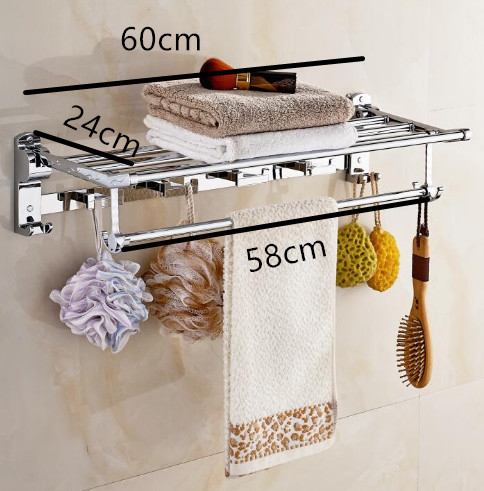 Stainless steel 304 bathroom towel rack double bath towel holder shelf bathroom towel holder shelf chorm bathroom hardware