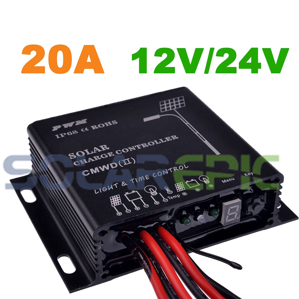 20A PWM Waterproof Solar Controller 12V/24VDC Auto Battery Regulator IP68 Charger Controller With Light and Timer Function