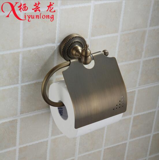European classical furniture factory wholesale antique copper full roll holder toilet paper holder into the wall napkins rack
