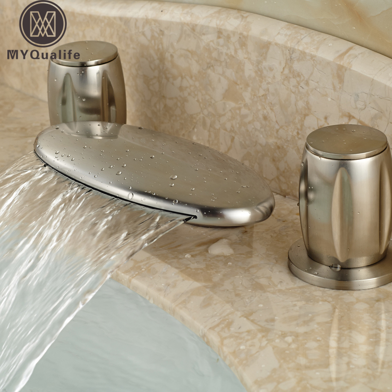 Luxury Arcuate Waterfall Spout Two Handle Basin Mixer Faucet Deck Mount 3 Holes Bathroom Washbasin Taps