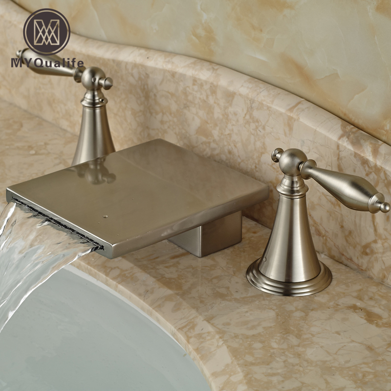 Brushed Nickel Deck Mount Hot and Cold Water Basin Faucet Waterfall Double Handle Bathroom Mixer Taps