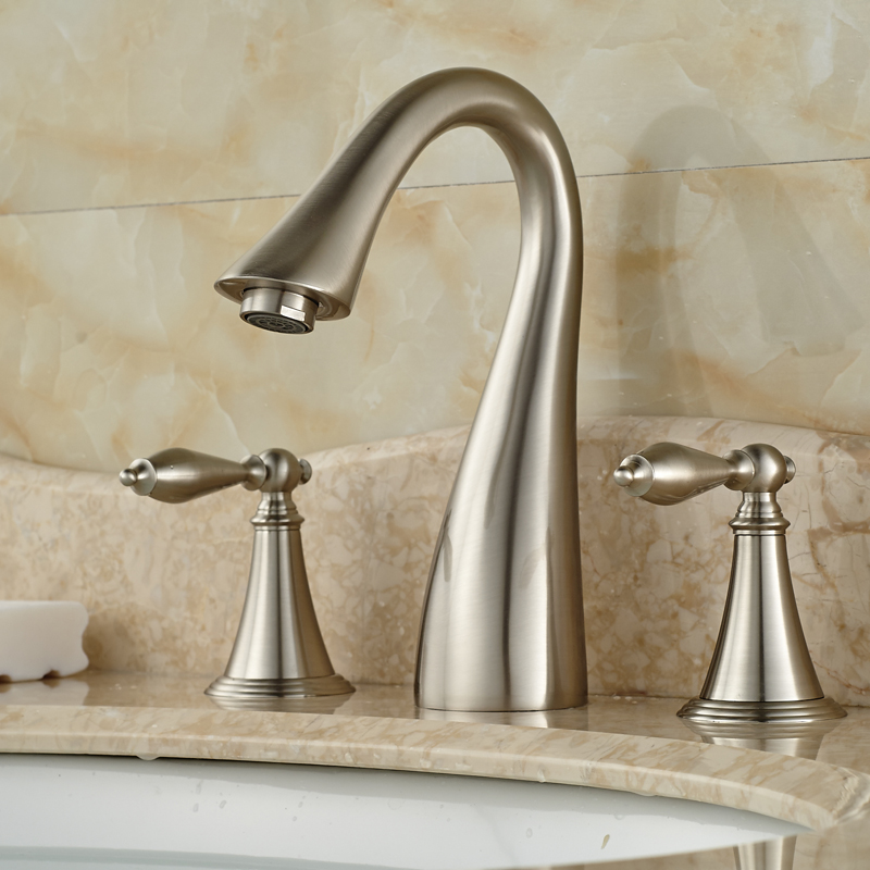 Creative Design Bathroom Mixer Faucet Two Handles 3 Hole Basin Sink Hot Cold Water Taps Brushed Nickel Finish