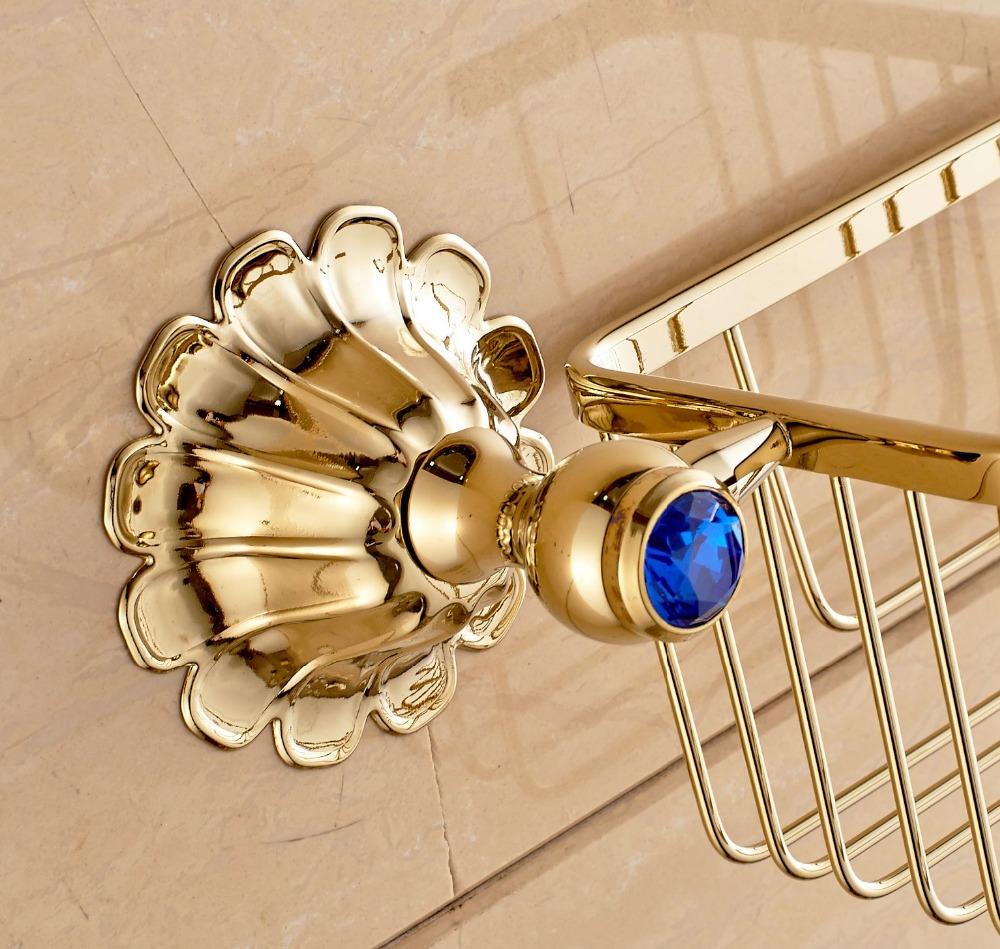 Free Postage Golden Polish Toilet Paper Holder Bathroom Storage Brasket Wall Mounted