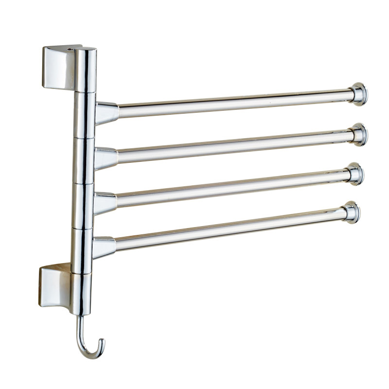 Stainless Steel Towel Bar Bathroom Rotating Towel Holder Bathroom Kitchen Towel Rack With Hook Hardware Accessory FULI