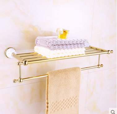 High Quality Copper Gold Bathroom Towel Rack Towel Bar Towel Holder Hotel Home Bathroom Storage Rail Towel Shelf  porta toalha