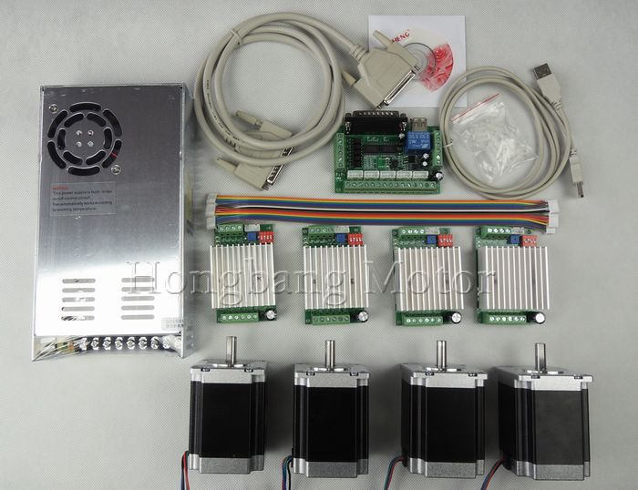 CNC Router Kit 4 Axis, 4pcs TB6600 4.5A stepper motor driver +4pcs Nema23 270 Oz-in motor+5 axis interface board+ power supply