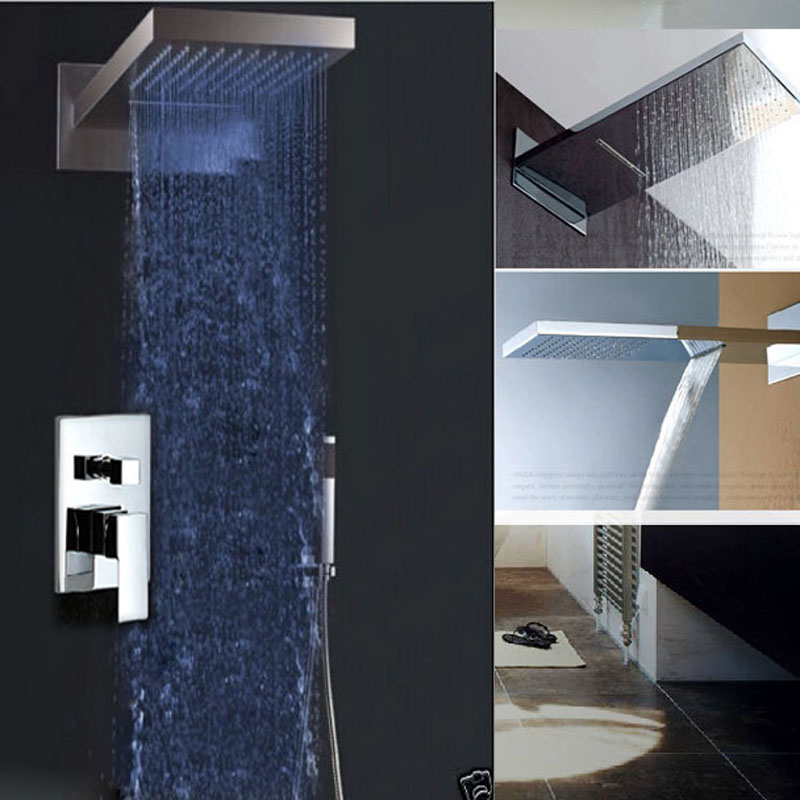 Chrome LED Color Changing Shower Faucet Wall Mount Rainfall & Waterfall Shower Head Bathroom Shower Mixer Taps
