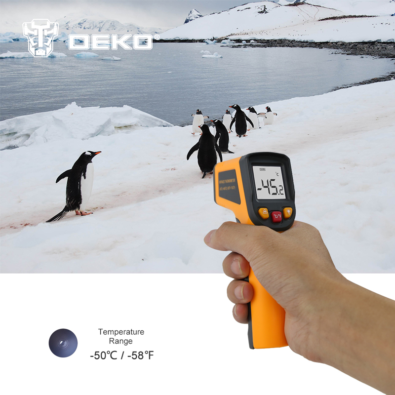 DEKOPRO WD01 Non-Contact Laser LCD Display IR Infrared Digital C/F Selection Surface Temperature Thermometer Pyrometer Imager