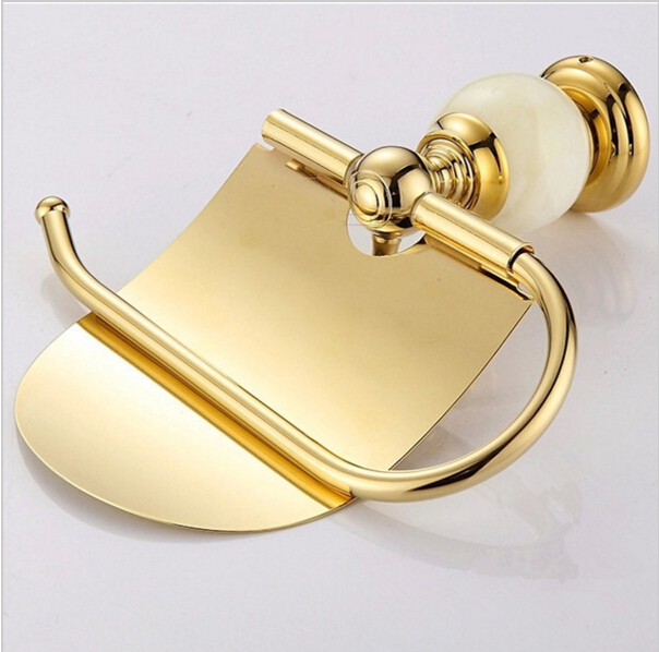 Jade & brass gold paper box paper roll holder toilet gold paper holder tissue box tissue holder Bathroom Accessories