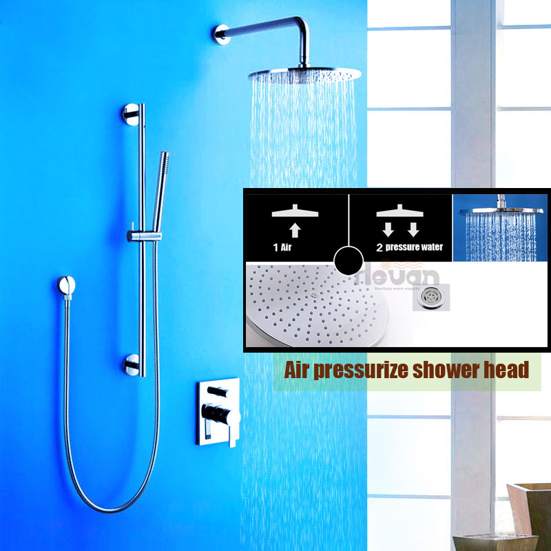 High quality brass material wall mounted air pressure boost 10 inch rain shower set double handle shower valve