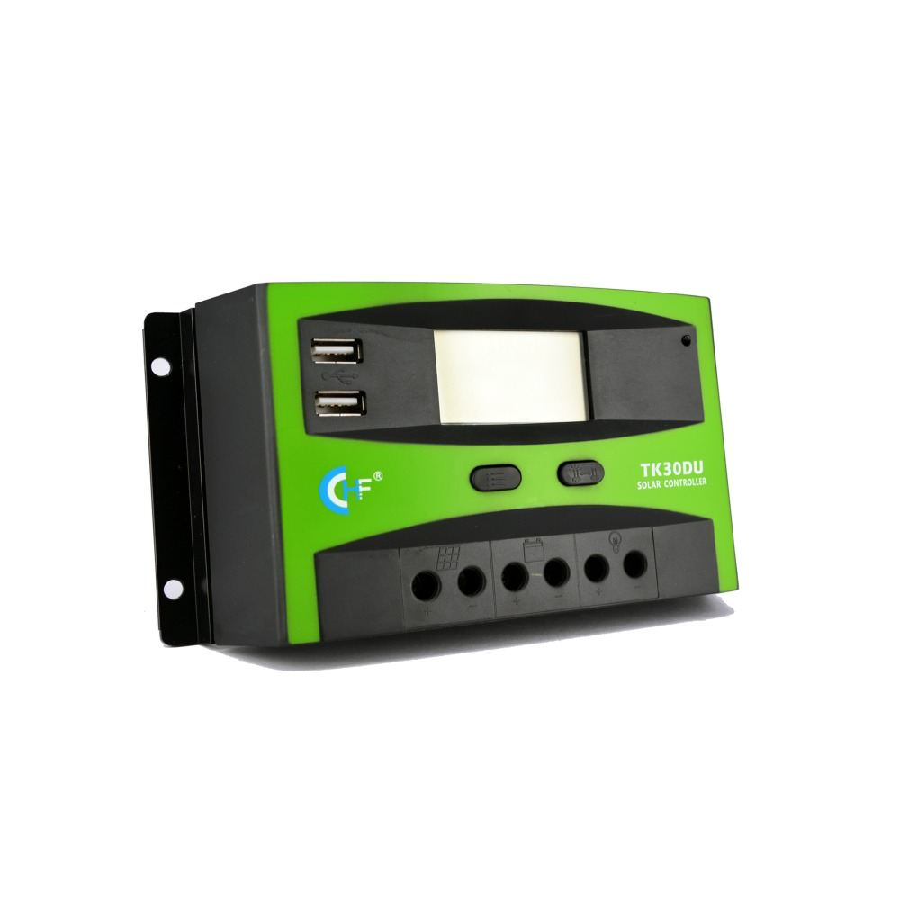 2pcs/lot Factory Price 30A 12V/24V PWM Solar Charge Controller LCD Display USB Output Solar Charge Regulator TK30DU