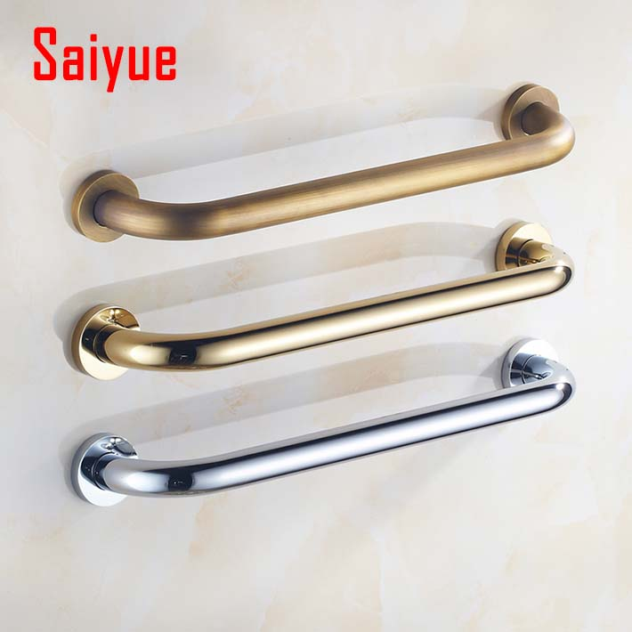 AUSWIND Antique Wall Mounted Solid Brass Carved Grab Bars Safety ...