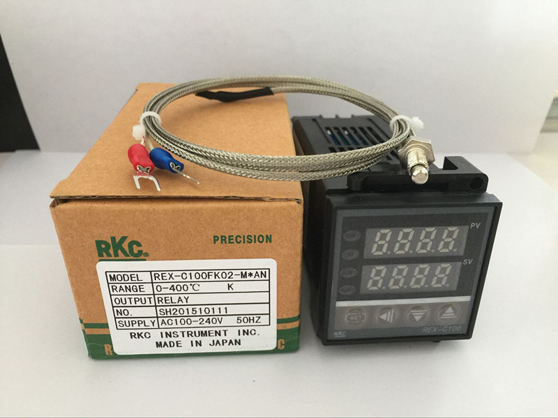 Dual Digital RKC PID Temperature Controller REX-C100 with K thermocouple, Relay Output