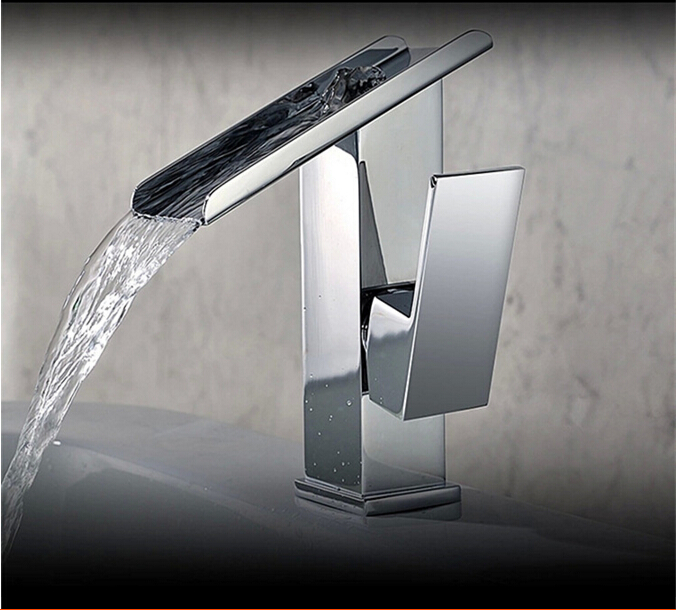 fashion chrome brass high quality hot and cold waterfall sink faucet bathroom basin faucet,tap mixer with unique design