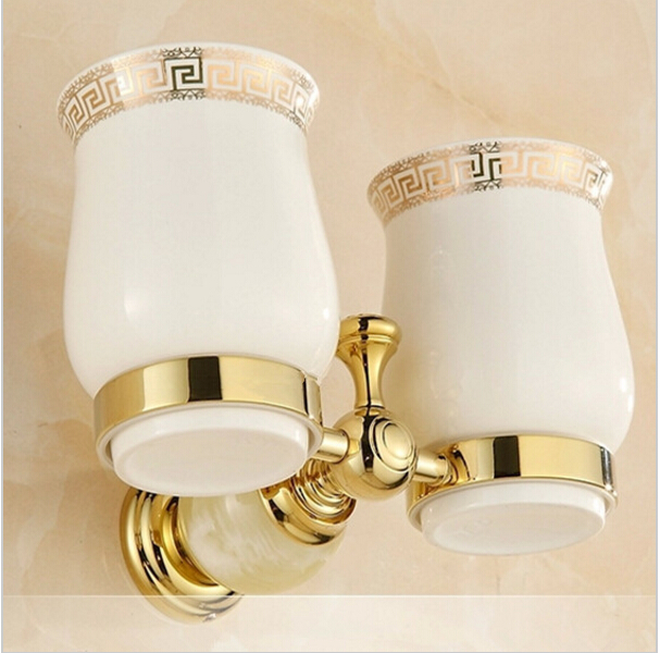 European Style Double Cup Holder Toothbrush Holder with Ceramic Cups Gold Brass Solid Brass Rack Tumbler Holder Wall Mounted
