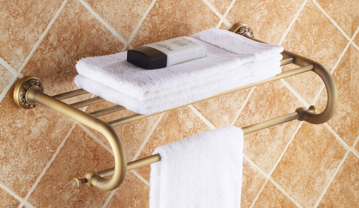 total brass bronze finished Europe style bathroom double level towel rack,bathroom accessories