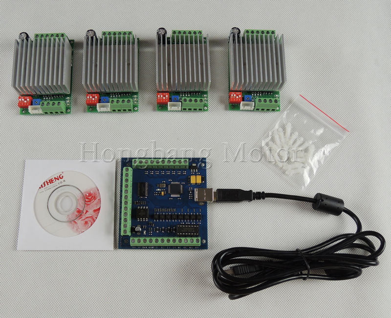 CNC mach3 4 Axis usb Kit, 4pcs TB6600 Single Axis Stepper Motor Driver Board+one mach3 4 Axis USB CNC Controller card 100KHz 24V