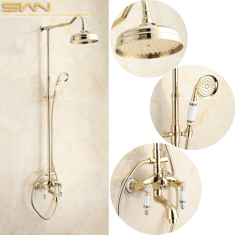 Brass Bathroom Shower Faucet Mixer Tap Rainfall Hand Shower Head Pattern Ceramic Handheld Shower Set Gold Color Finish 1711015A