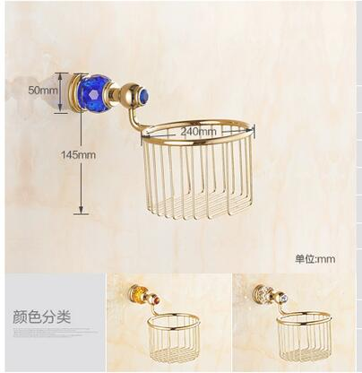 Luxury brass Gold blue crystal Toilet Paper tissue Holder,paper Roll Holder,Tissue Holder,Bathroom Accessories Products