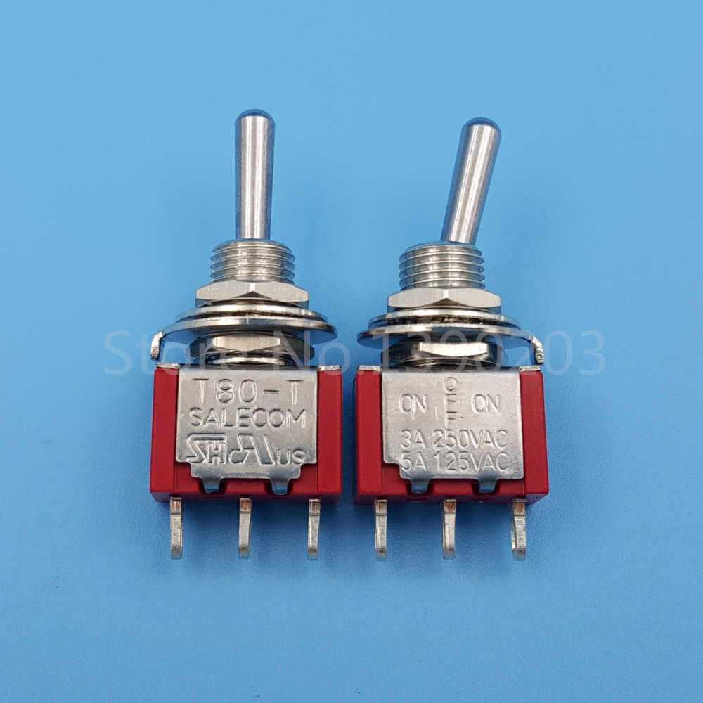 10Pcs SH T8014 3Pin 3Position ON-OFF-ON SPDT Maintained Mini Toggle Switch