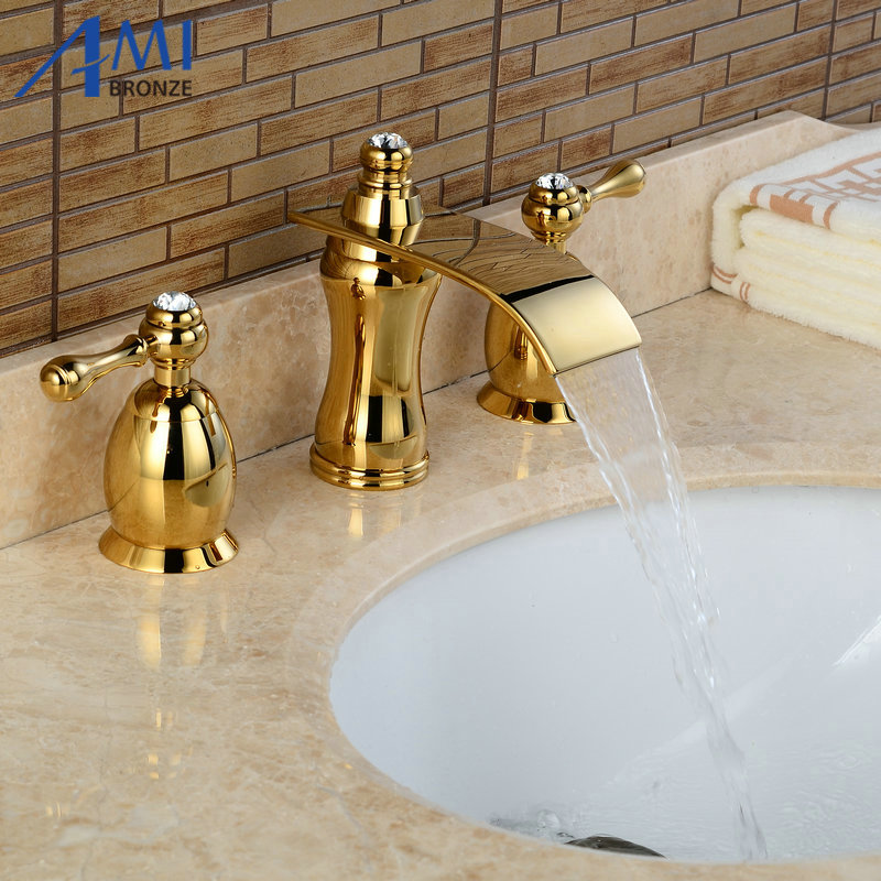 3Pcs Waterfall Faucet Blacked Basin Faucets Deck Mounted Bathroom Tap Sink or Bathtub Faucet  Double handles Faucet BA07