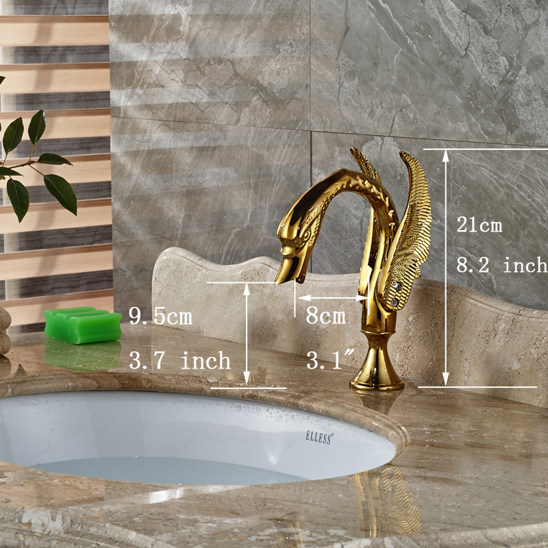 Deck Mount High-end Bathroom Sink Mixer Faucet W/ Hot Cold Water Taps Gold Finish