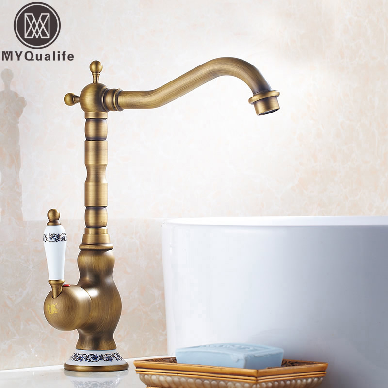 Modern Antique Bathroom Sink Faucet Ceramic Handle Brass Hot and Cold Water Vanity Sink Bathroom Kitchen Mixer Taps