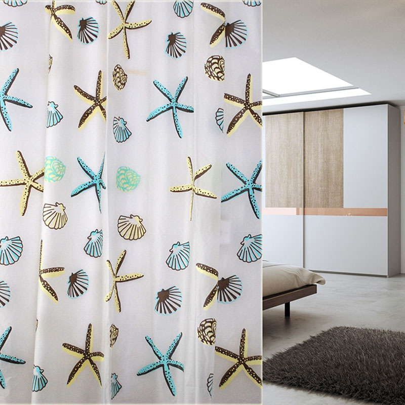 Brand Shell Starfish Bathroom Waterproof Mildew Proof Shower Curtain With 12pcs Curtain Hooks Rings 180cm*180