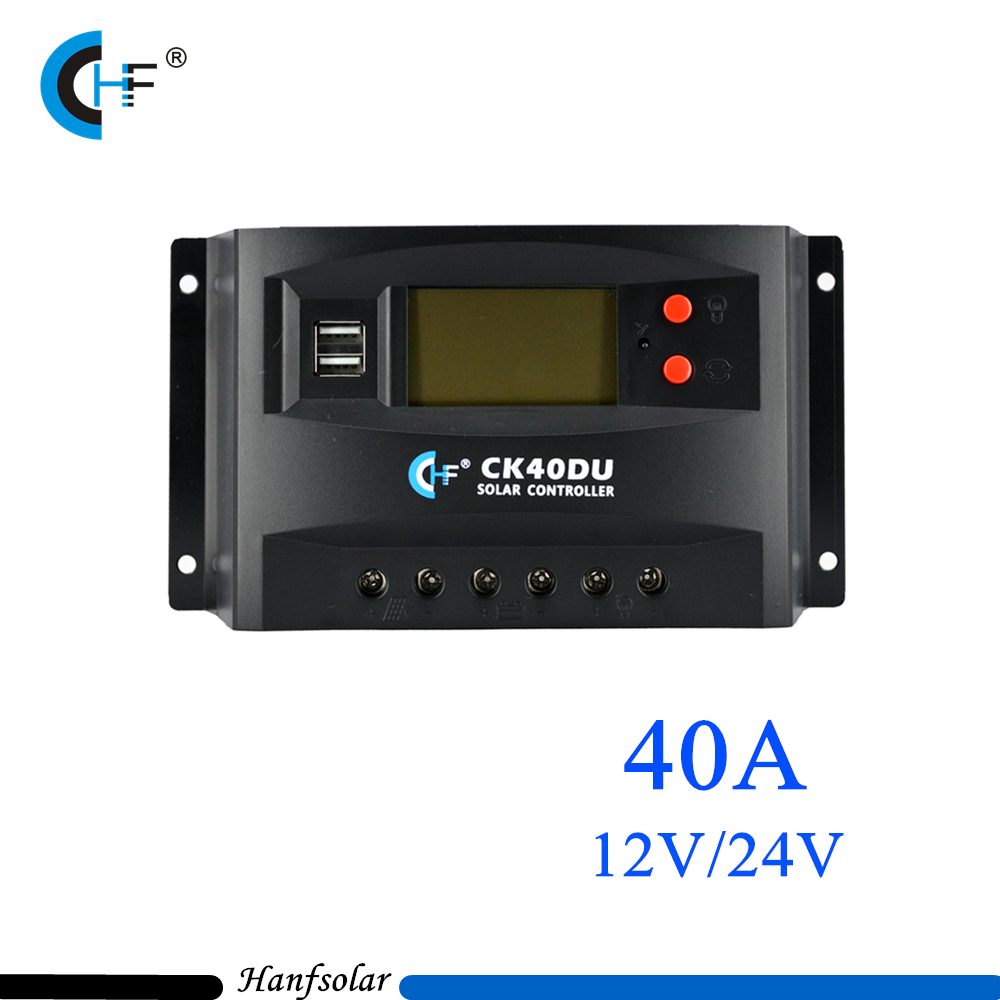 2pcs/lot HF PWM 40A Solar Charge Controller 12V 24V LCD Display Solar Panel Charge Regulator USB CK40DU for PV System