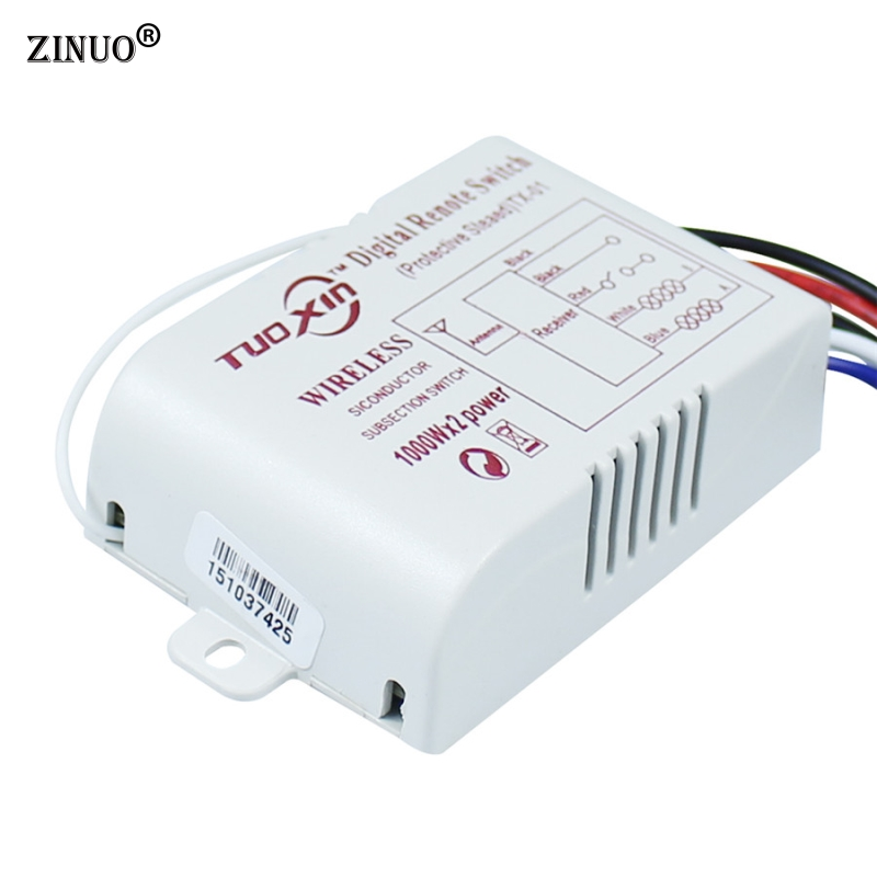 1 Set 2 Way 220V Wireless ON/OFF Digital RF Remote Controller Switch Receiver Transmitter For LED Ceiling Panel Lamps Bulbs